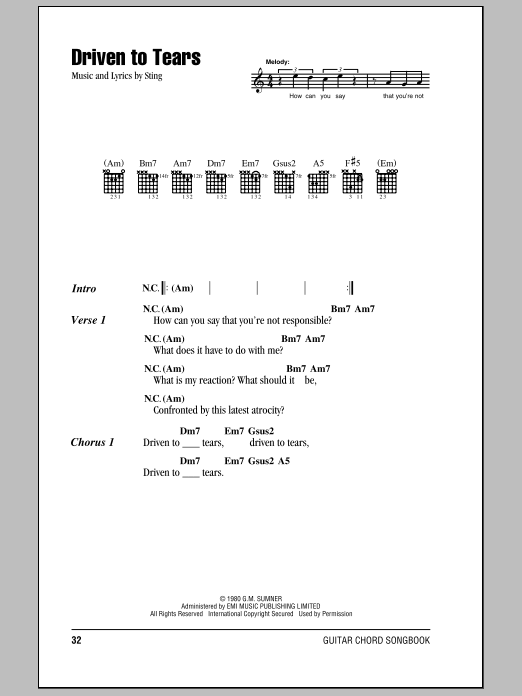 Driven To Tears sheet music by The Police (Lyrics & Chords – 79079)