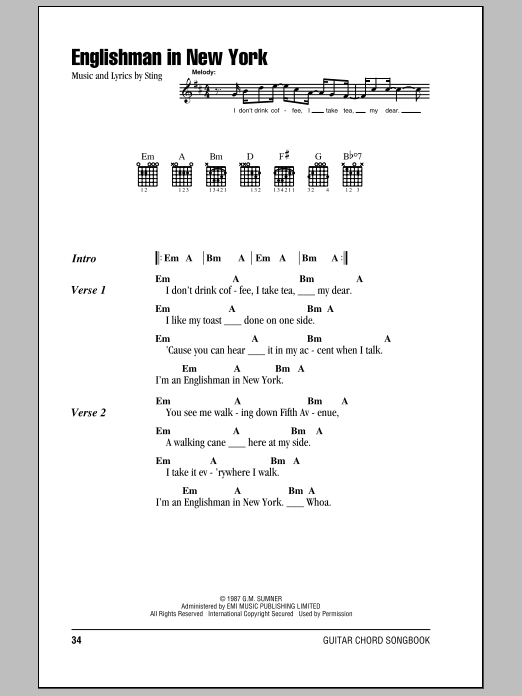 Englishman In New York Sheet Music