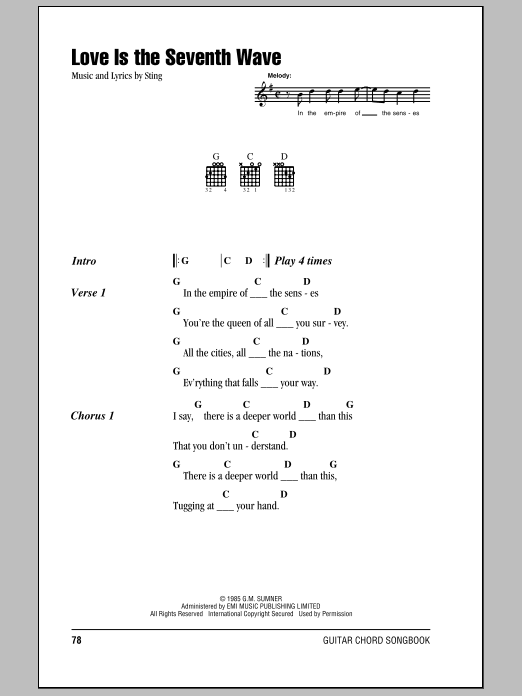 Love Is The Seventh Wave Sheet Music