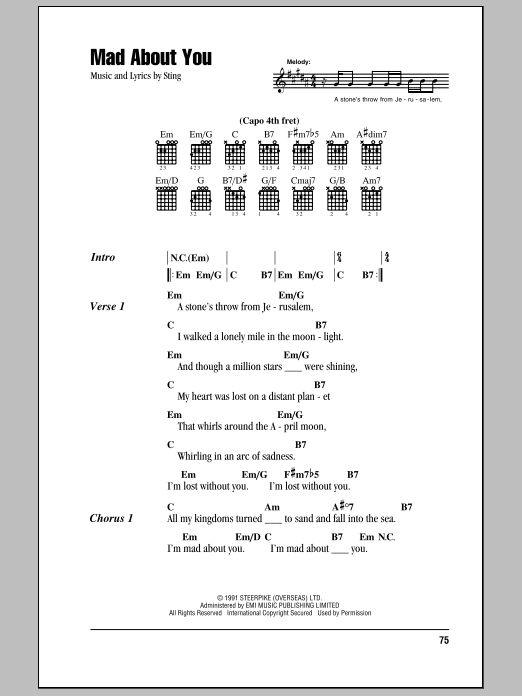 Mad About You (Guitar Chords/Lyrics)