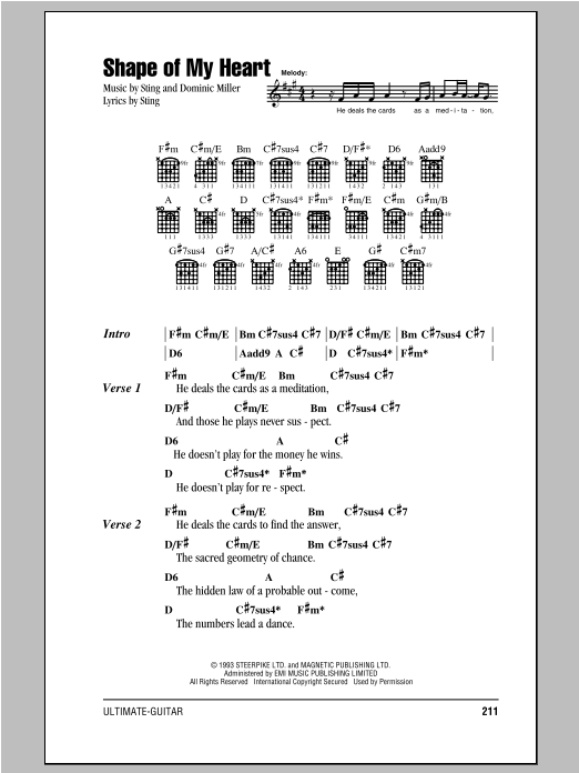 shape of my heart sheet music
