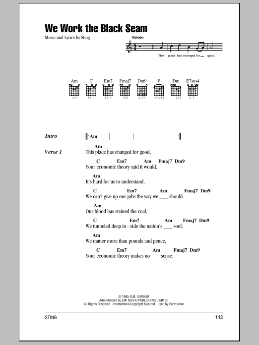 We Work The Black Seam Sheet Music