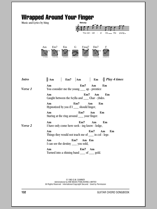 Wrapped Around Your Finger (Guitar Chords/Lyrics)