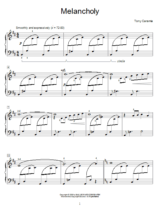 Melancholy Sheet Music