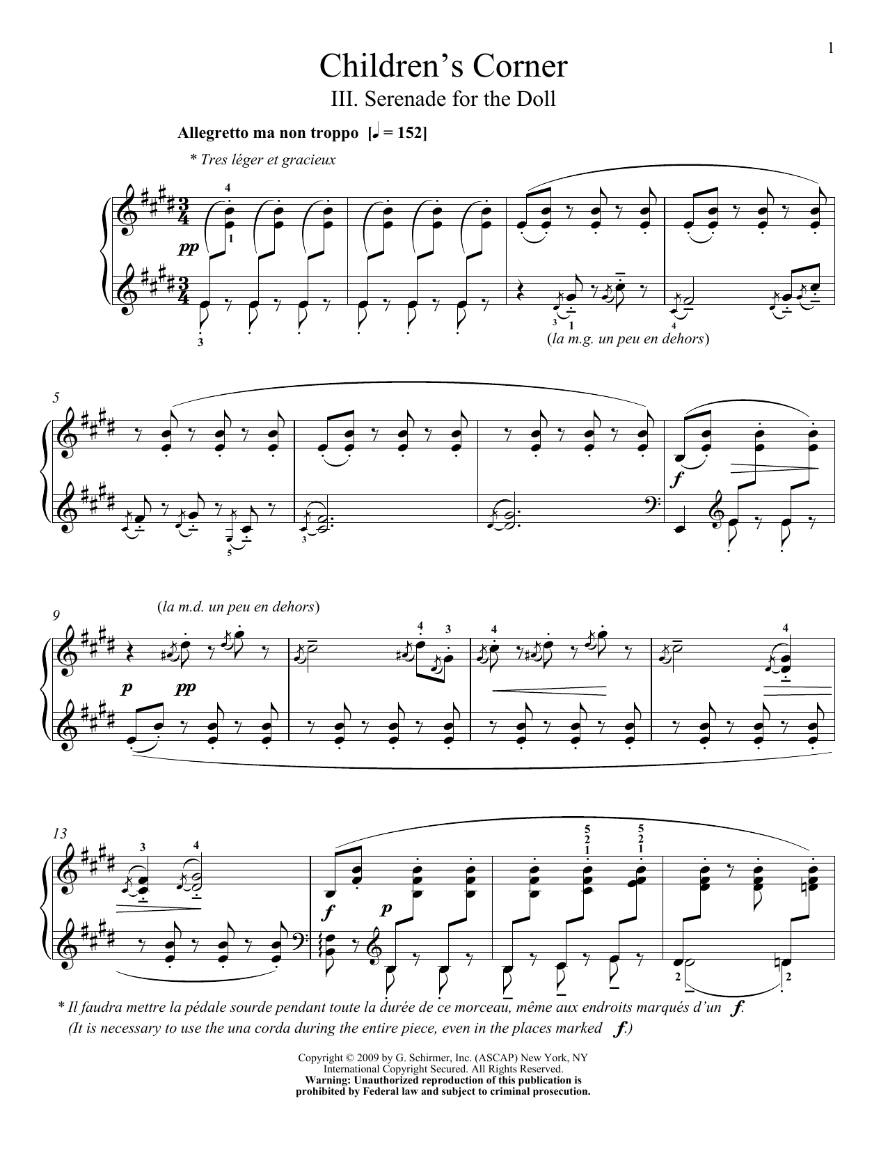Partition piano Serenade For The Doll de Claude Debussy - Piano Solo