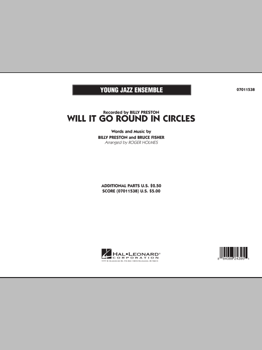 Will It Go Round in Circles? (COMPLETE) sheet music for jazz band by Roger Holmes, Billy Preston and Bruce Fisher. Score Image Preview.