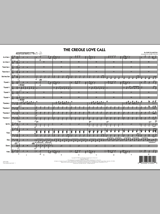 The Creole Love Call (COMPLETE) sheet music for jazz band by Mark Taylor and Duke Ellington. Score Image Preview.