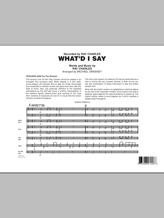 What'd I Say (COMPLETE) sheet music for jazz band by Michael Sweeney and Ray Charles. Score Image Preview.