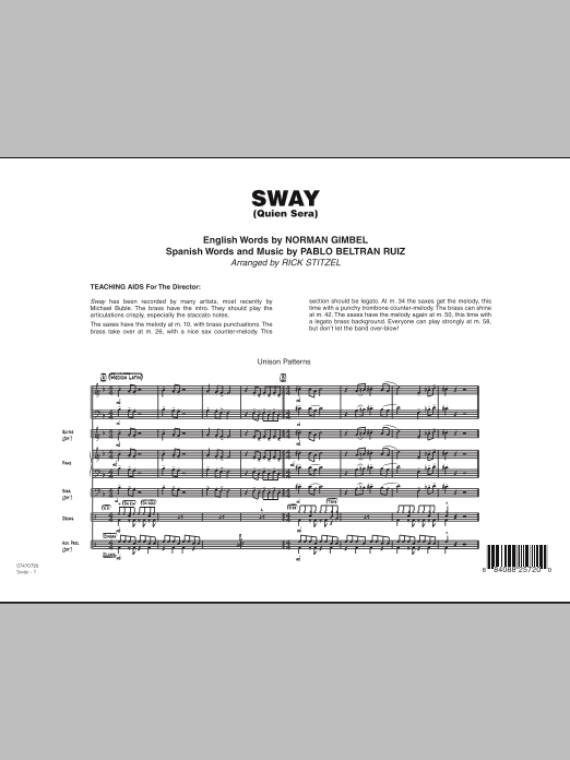 Sway (Quien Sera) (COMPLETE) sheet music for jazz band by Rick Stitzel, Norman Gimbel and Pablo Beltran Ruiz. Score Image Preview.
