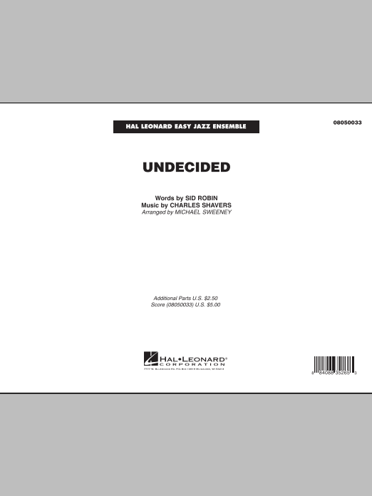 Undecided (COMPLETE) sheet music for jazz band by Michael Sweeney, Charles Shavers and Sid Robin. Score Image Preview.