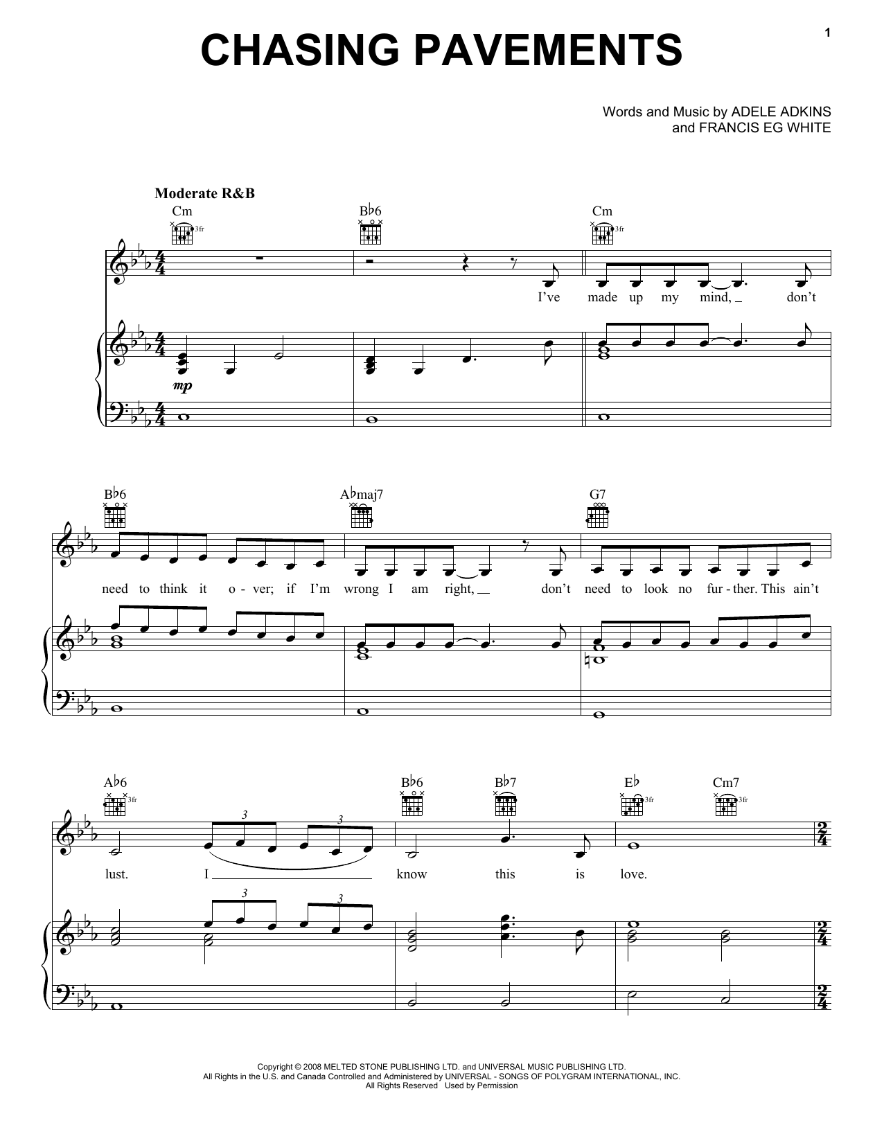 Chasing Pavements (Piano, Vocal & Guitar (Right-Hand Melody))