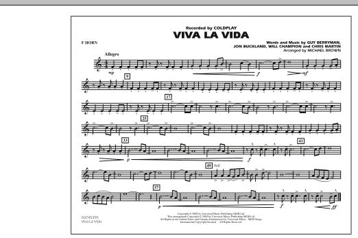 page one of Viva La Vida - F HornASALTTEXT