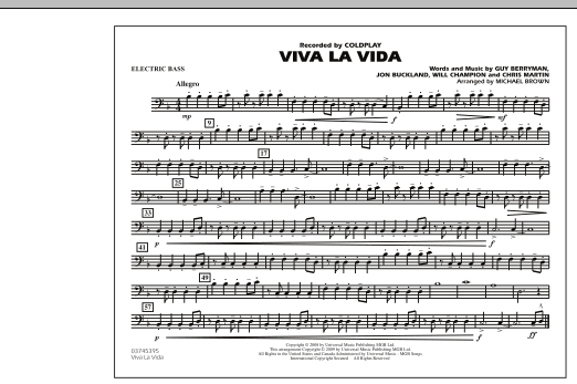 page one of Viva La Vida - Electric BassASALTTEXT
