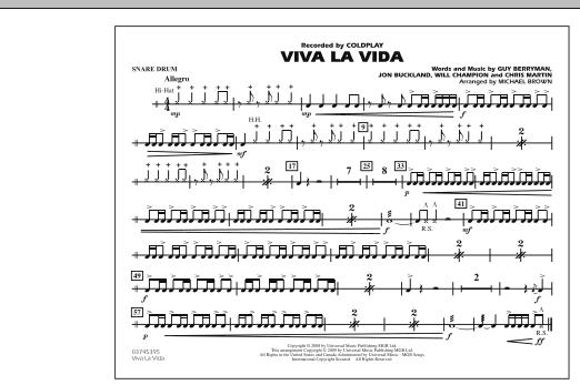 Viva La Vida - Snare Drum (Marching Band)