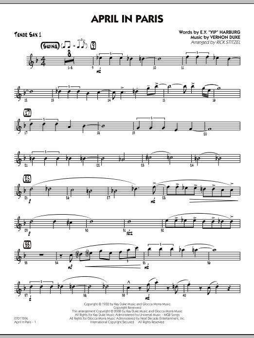 April in Paris - Tenor Sax 1 (Jazz Ensemble)