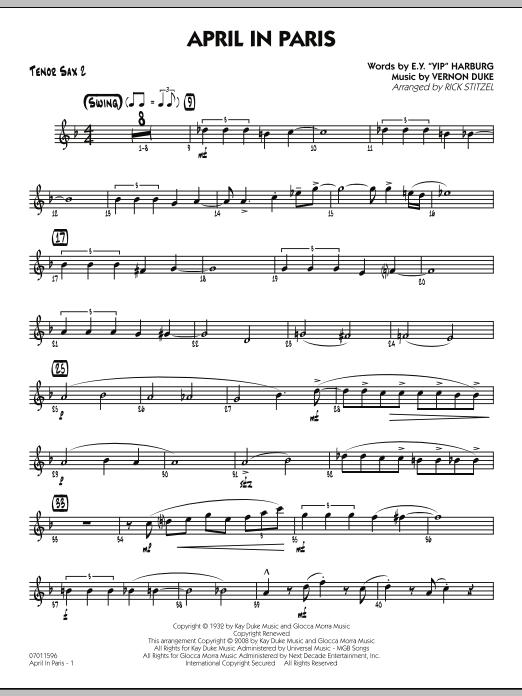 April in Paris - Tenor Sax 2 (Jazz Ensemble)
