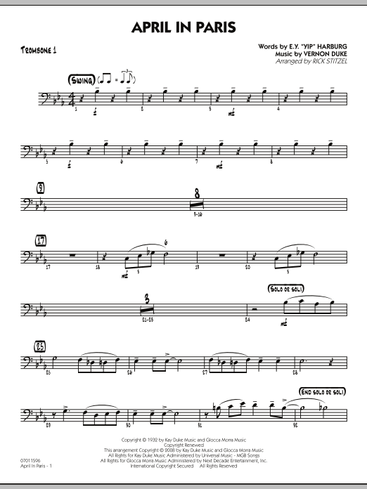 April in Paris - Trombone 1 (Jazz Ensemble)