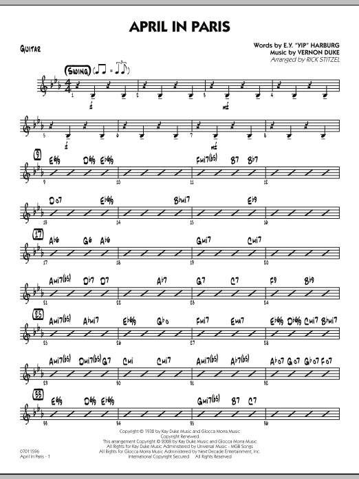 April in Paris - Guitar (Jazz Ensemble)
