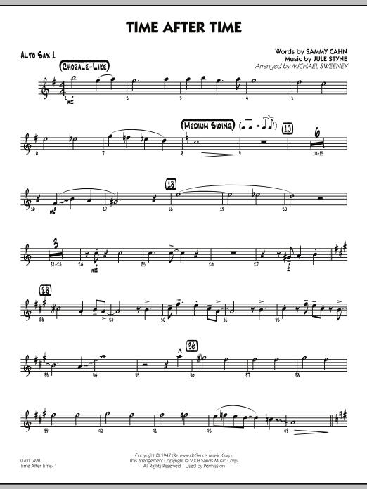 Time After Time - Alto Sax 1 (Jazz Ensemble)