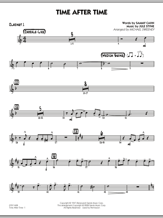Time After Time - Bb Clarinet 1 (Jazz Ensemble)