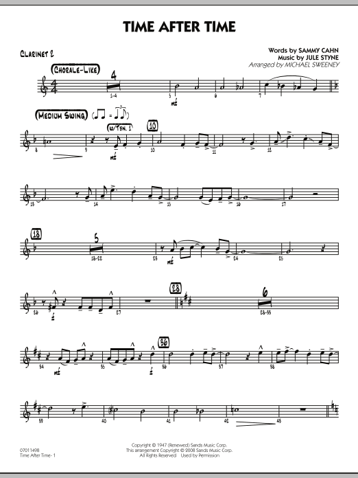 Time After Time - Bb Clarinet 2 (Jazz Ensemble)