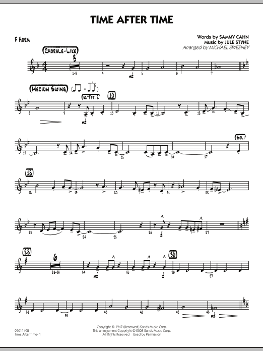 Time After Time - F Horn (Jazz Ensemble)