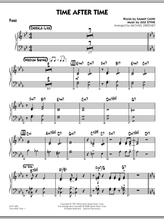 Time After Time - Piano (Jazz Ensemble)