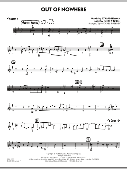Out of Nowhere - Trumpet 1 (Jazz Ensemble)