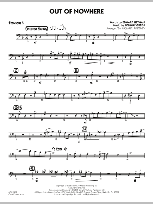 Out of Nowhere - Trombone 3 (Jazz Ensemble)