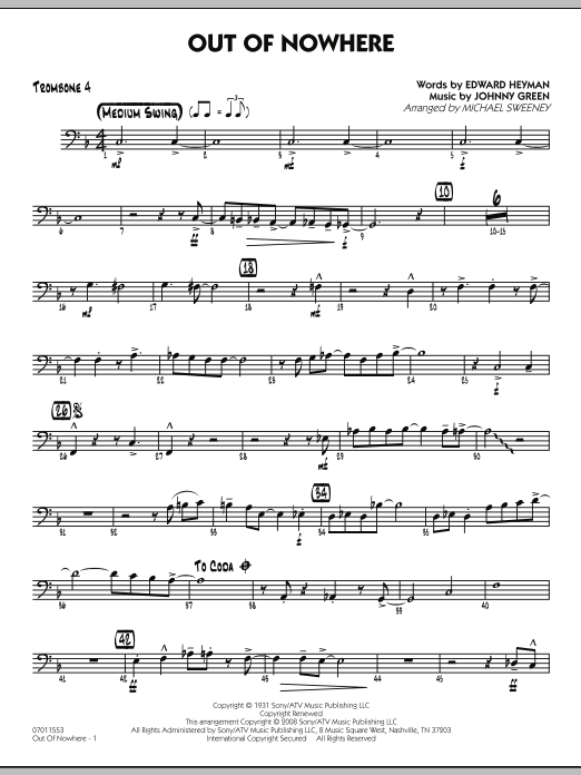 Out of Nowhere - Trombone 4 (Jazz Ensemble)