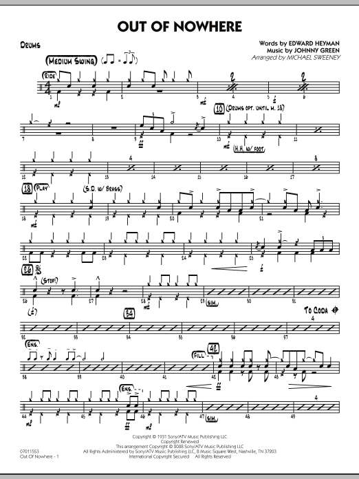 Out of Nowhere - Drums (Jazz Ensemble)