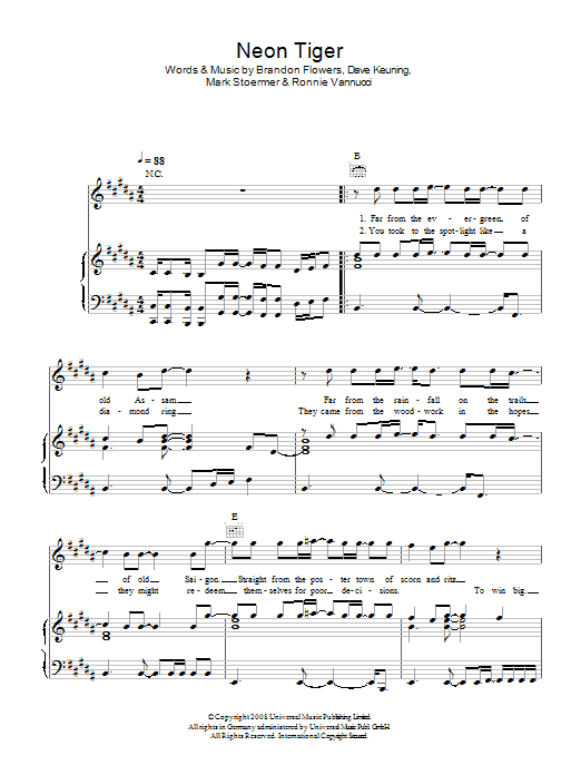 Neon Tiger (Piano, Vocal & Guitar)