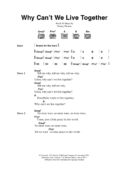 Why Can't We Live Together Sheet Music