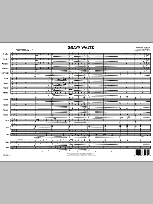 Gravy Waltz (COMPLETE) sheet music for jazz band by Steve Allen, Ray Brown and Mark Taylor. Score Image Preview.