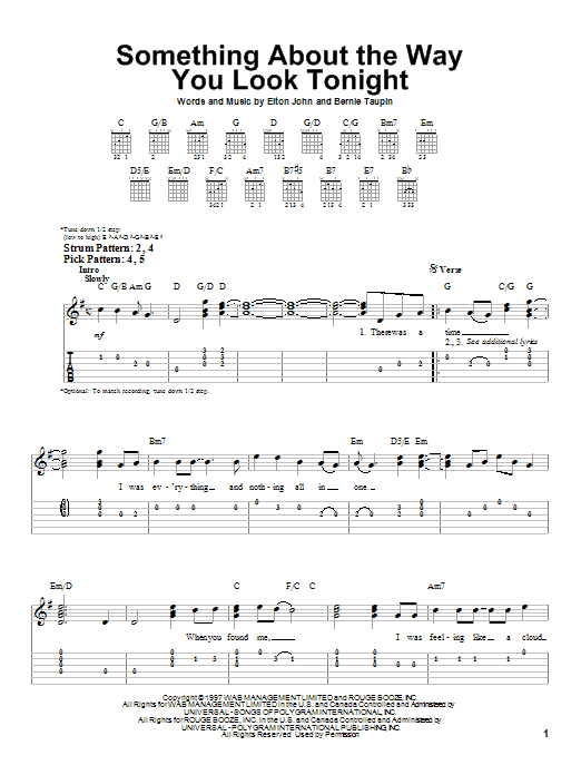Tablature guitare Something About The Way You Look Tonight de Elton John - Tablature guitare facile