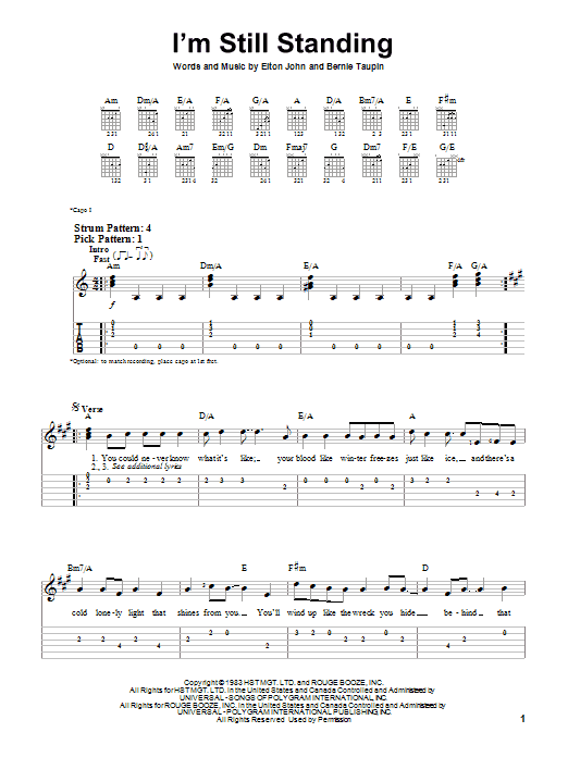 Tablature guitare I'm Still Standing de Elton John - Tablature guitare facile
