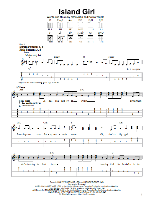 Tablature guitare Island Girl de Elton John - Tablature guitare facile