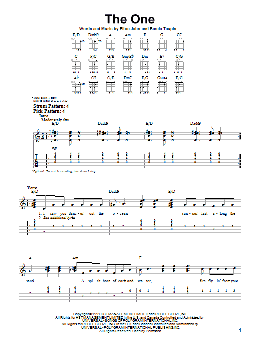 Tablature guitare The One de Elton John - Tablature guitare facile