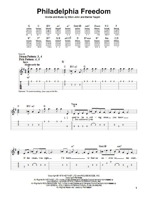 Philadelphia Freedom (Easy Guitar Tab)