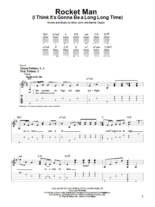 Tablature guitare Rocket Man de Elton John - Tablature guitare facile