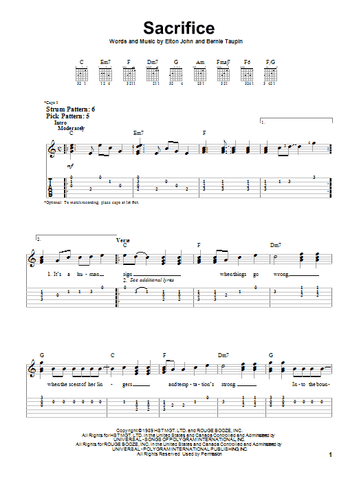 Tablature guitare Sacrifice de Elton John - Tablature guitare facile