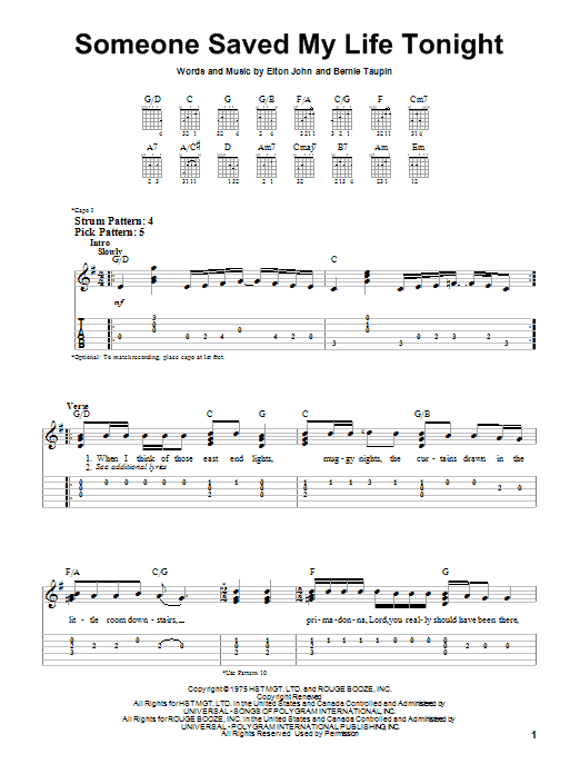 Someone Saved My Life Tonight (Easy Guitar Tab)