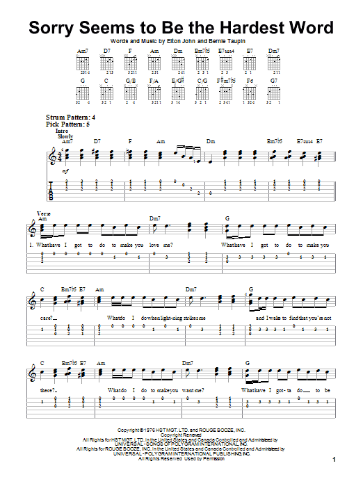 Tablature guitare Sorry Seems To Be The Hardest Word de Elton John - Tablature guitare facile