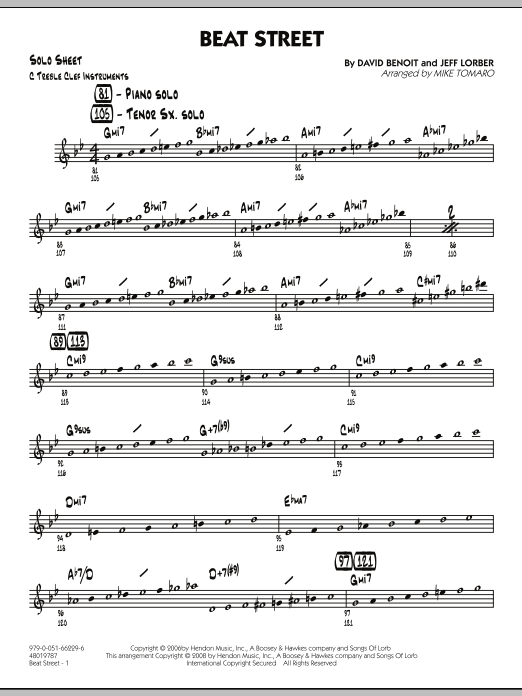 Beat Street - C Solo Sheet (Jazz Ensemble)