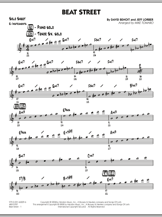 Beat Street - Eb Solo Sheet (Jazz Ensemble)