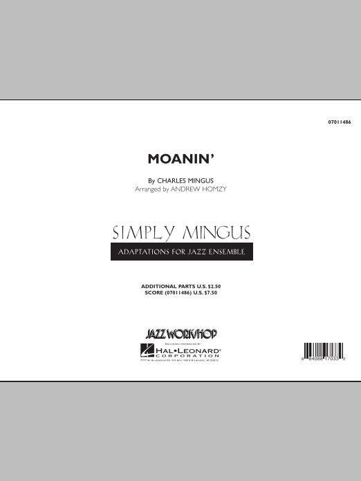 Moanin' (COMPLETE) sheet music for jazz band by Andrew Homzy and Charles Mingus. Score Image Preview.