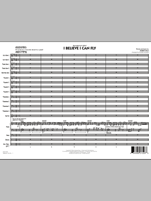 I Believe I Can Fly (COMPLETE) sheet music for jazz band by Robert Kelly and Roger Holmes. Score Image Preview.