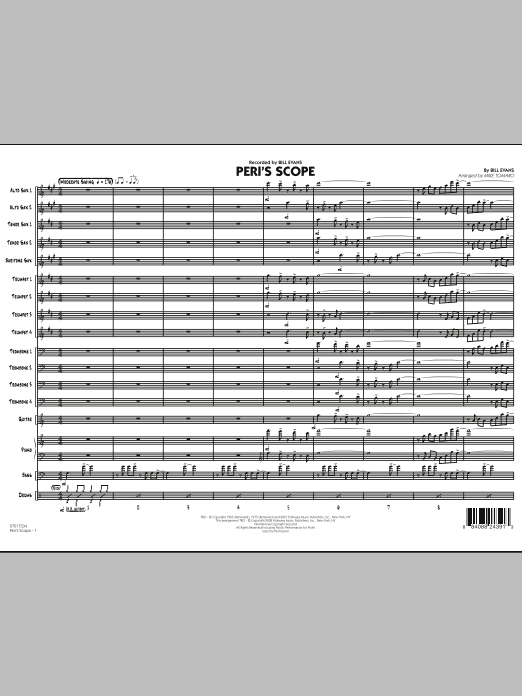 Peri's Scope (COMPLETE) sheet music for jazz band by Bill Evans and Mike Tomaro. Score Image Preview.