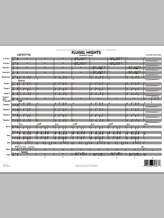 Flugel Nights (Flugelhorn Feature) (COMPLETE) sheet music for jazz band by Mark Taylor. Score Image Preview.