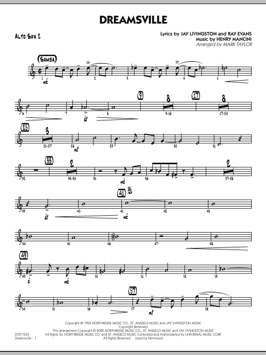page one of Dreamsville - Alto Sax 2ASALTTEXT